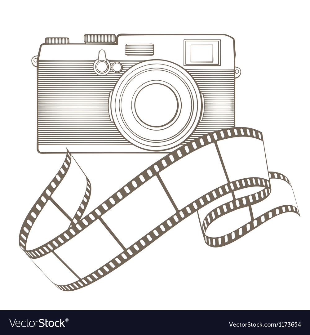 Retro photo camera with vignette vector image