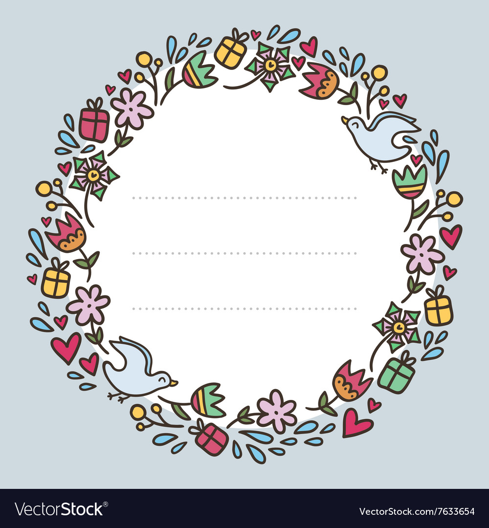 Romantic round frame with flowers hearts gifts and