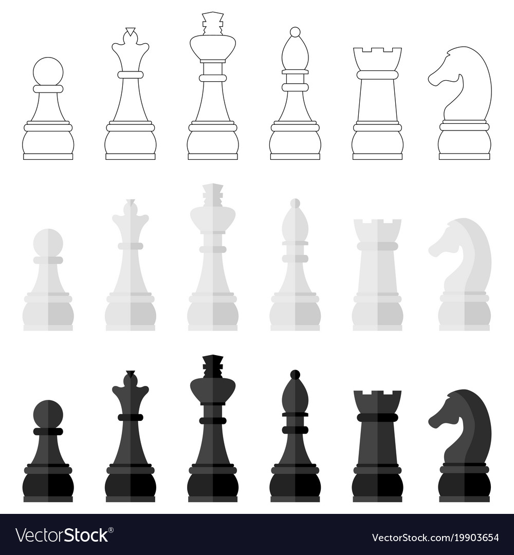 Set of icons of chess pieces