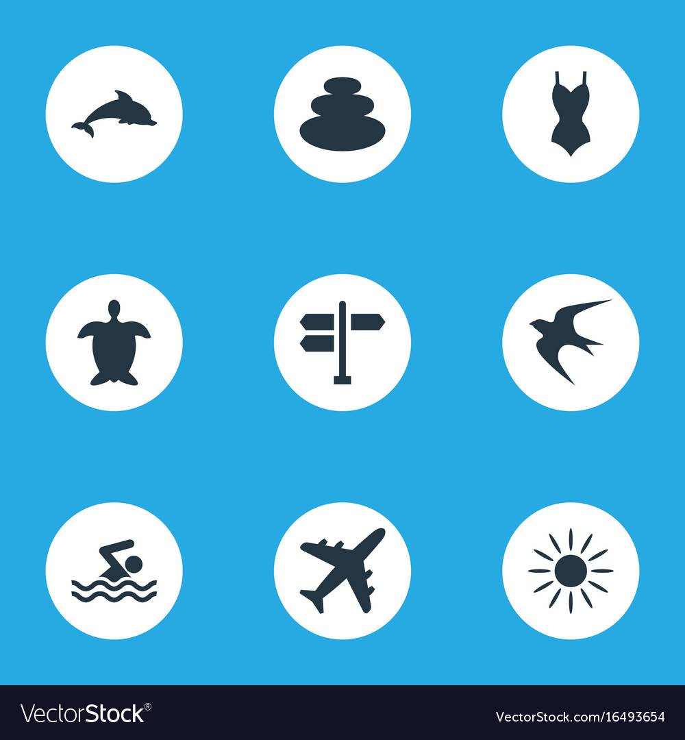 Set of simple beach icons