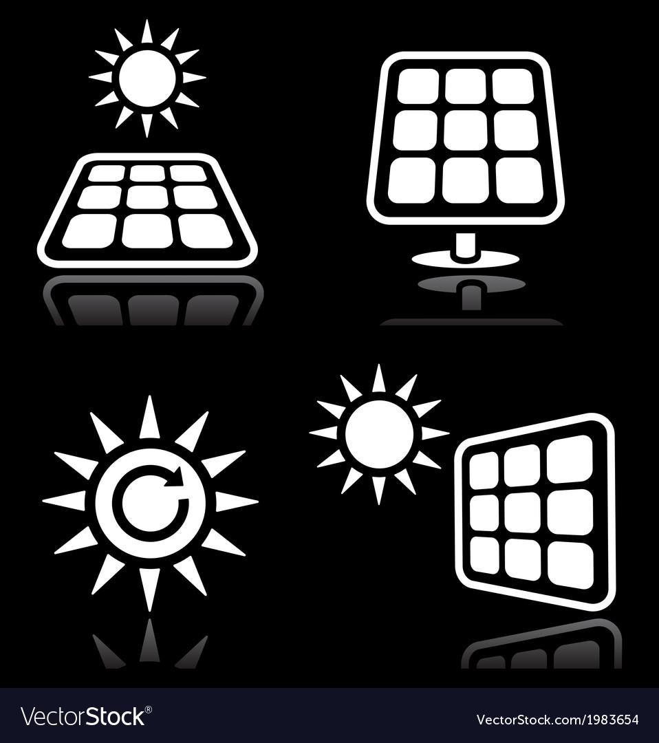 Solar panels solar energy white icons set on blac