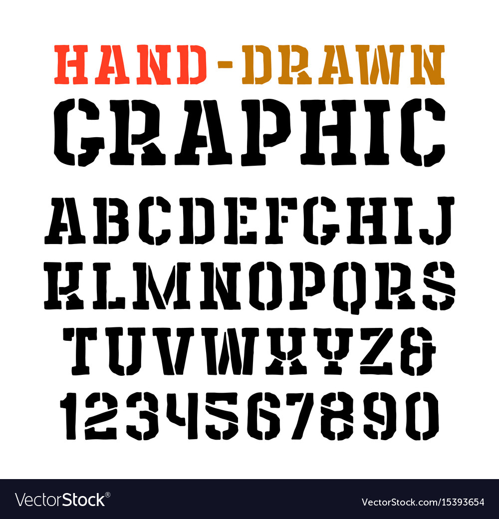 Stencil-plate serif font in the style of handmade vector image