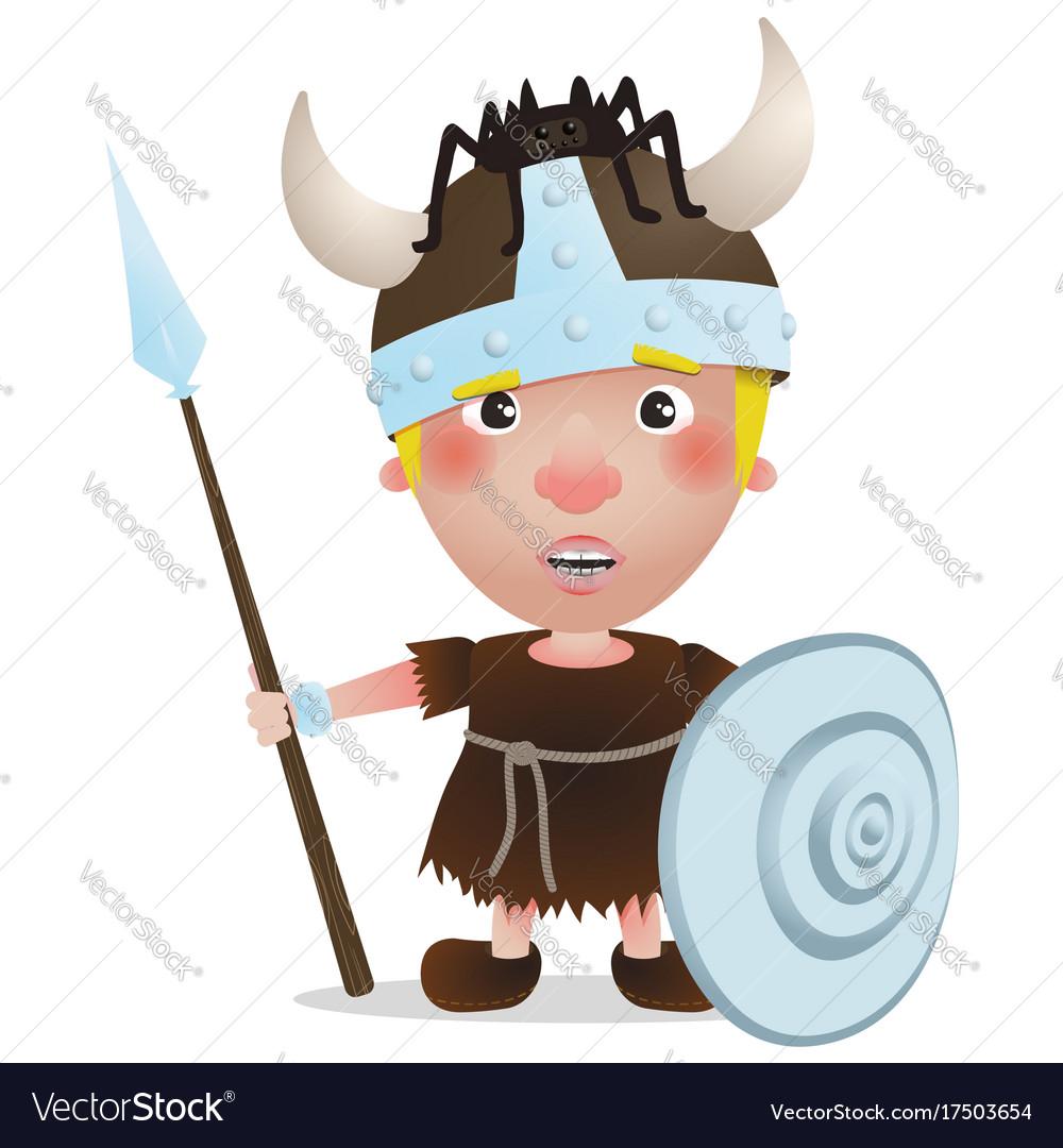 Viking warrior with spider on hat