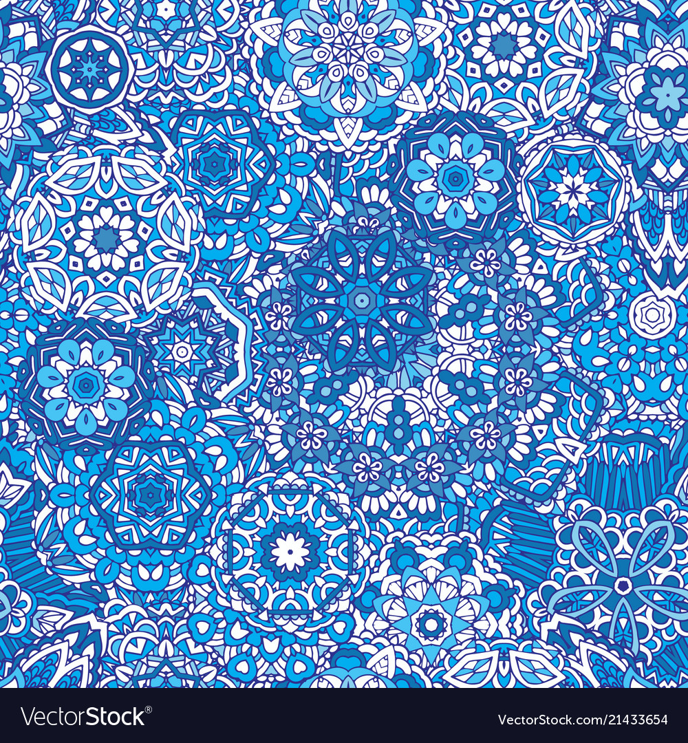 Winter snowflakes damask flower seamless pattern