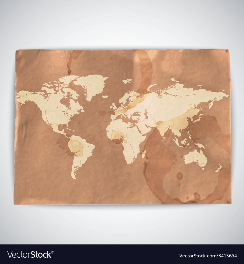 World map on cardboard grunge background