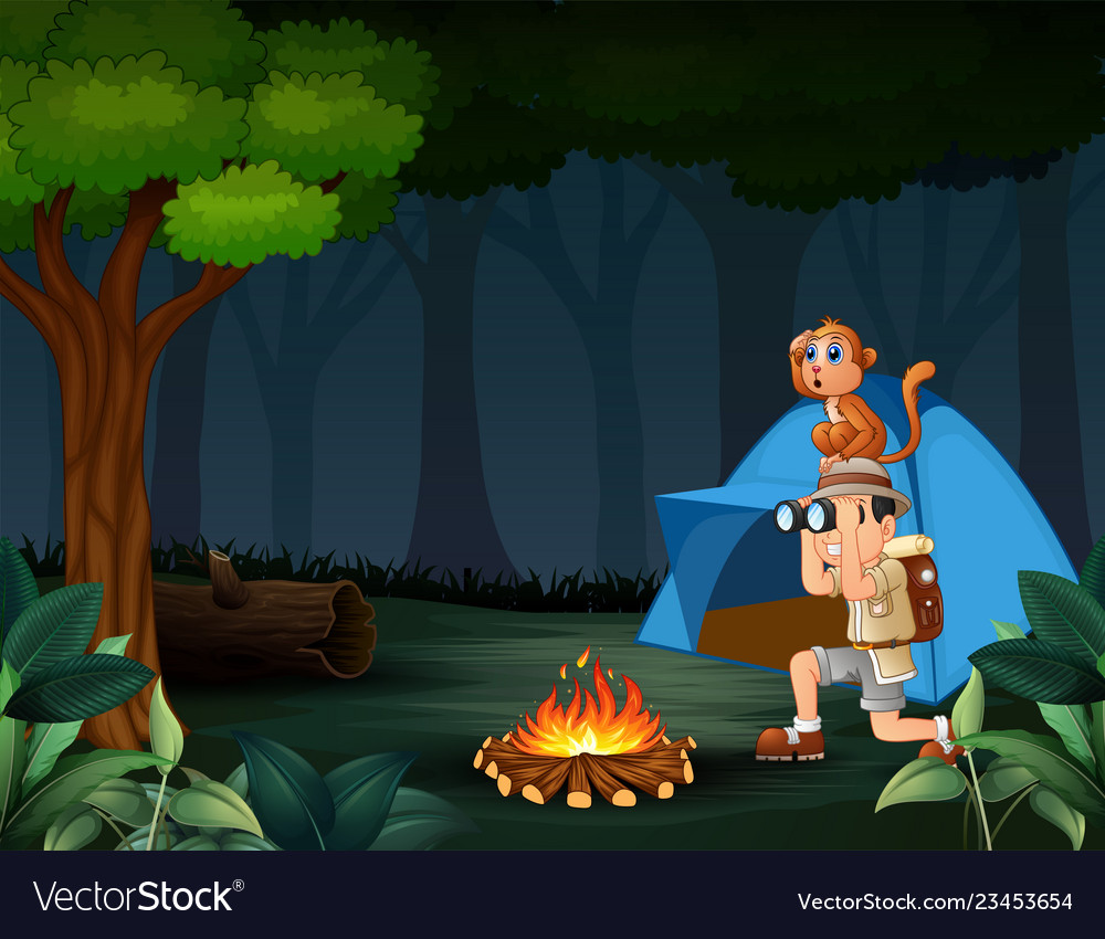 Zookeeper boy and his monkey camping in the forest