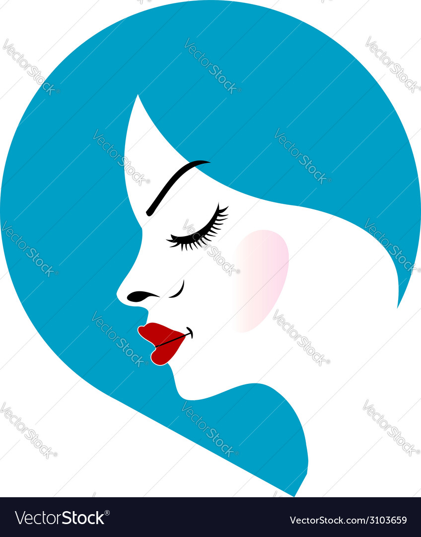 A ladys face in a blue placement- beauty logo