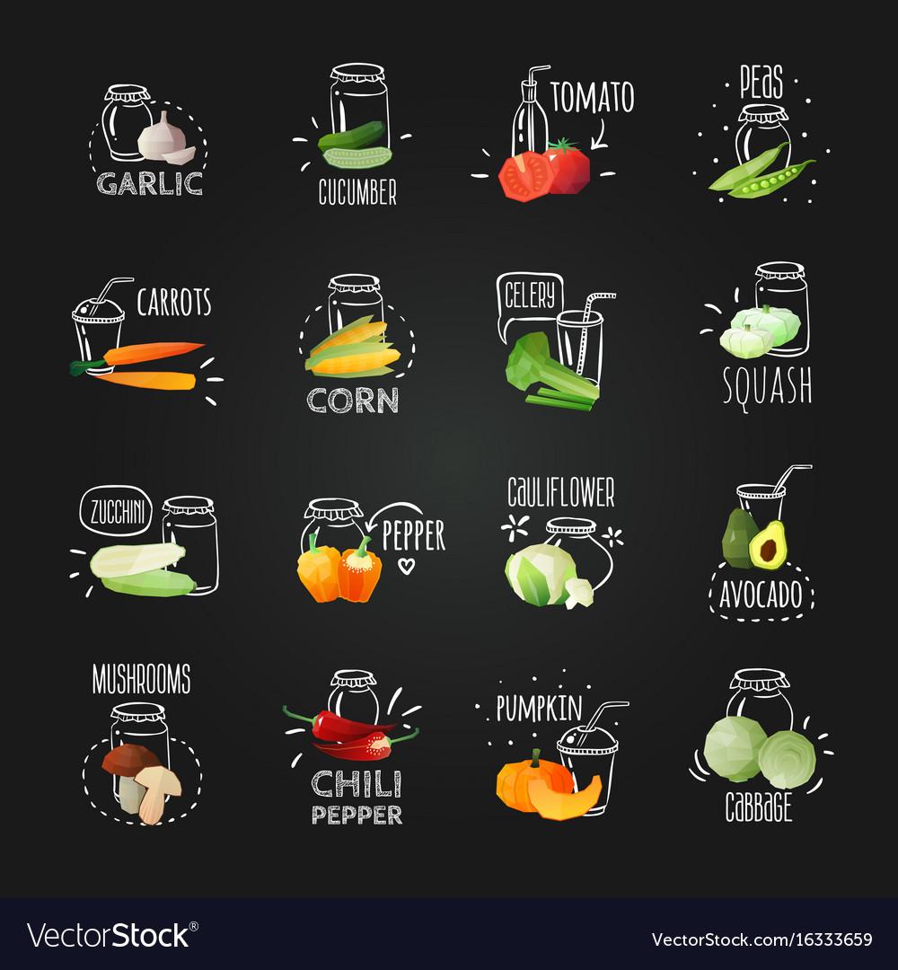 chalkboard vegetables emblem set vector image