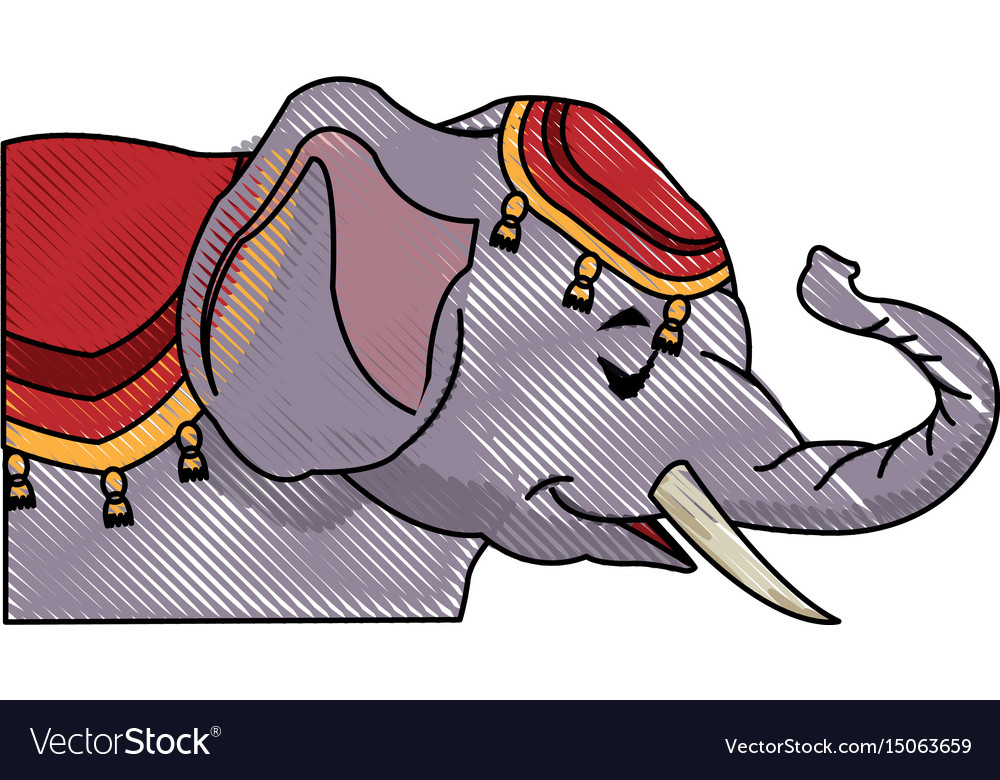 Circus elephant as acrobat animal standing trick