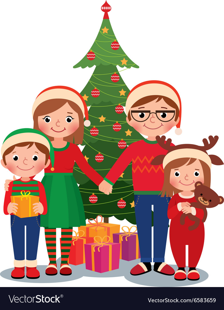 Family at christmas tree with gifts Royalty Free Vector