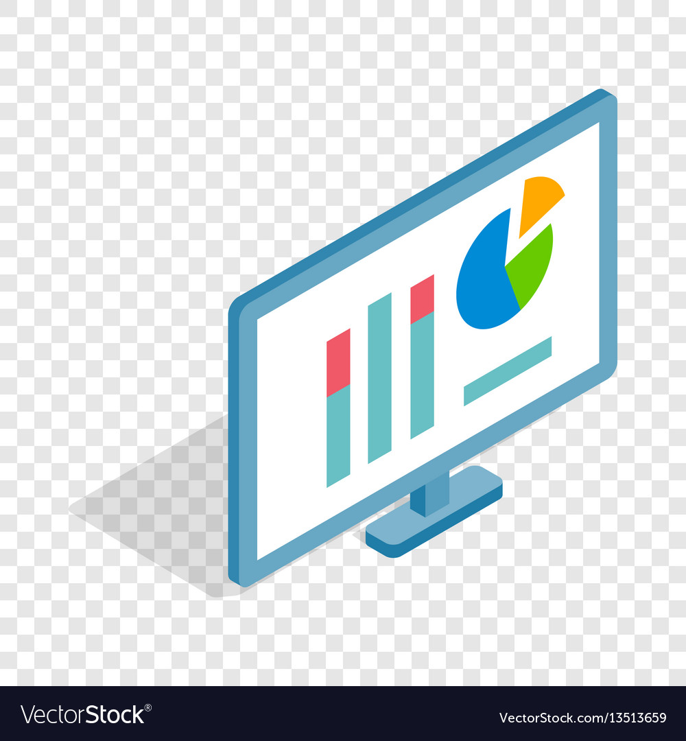 Monitor with charts isometric icon