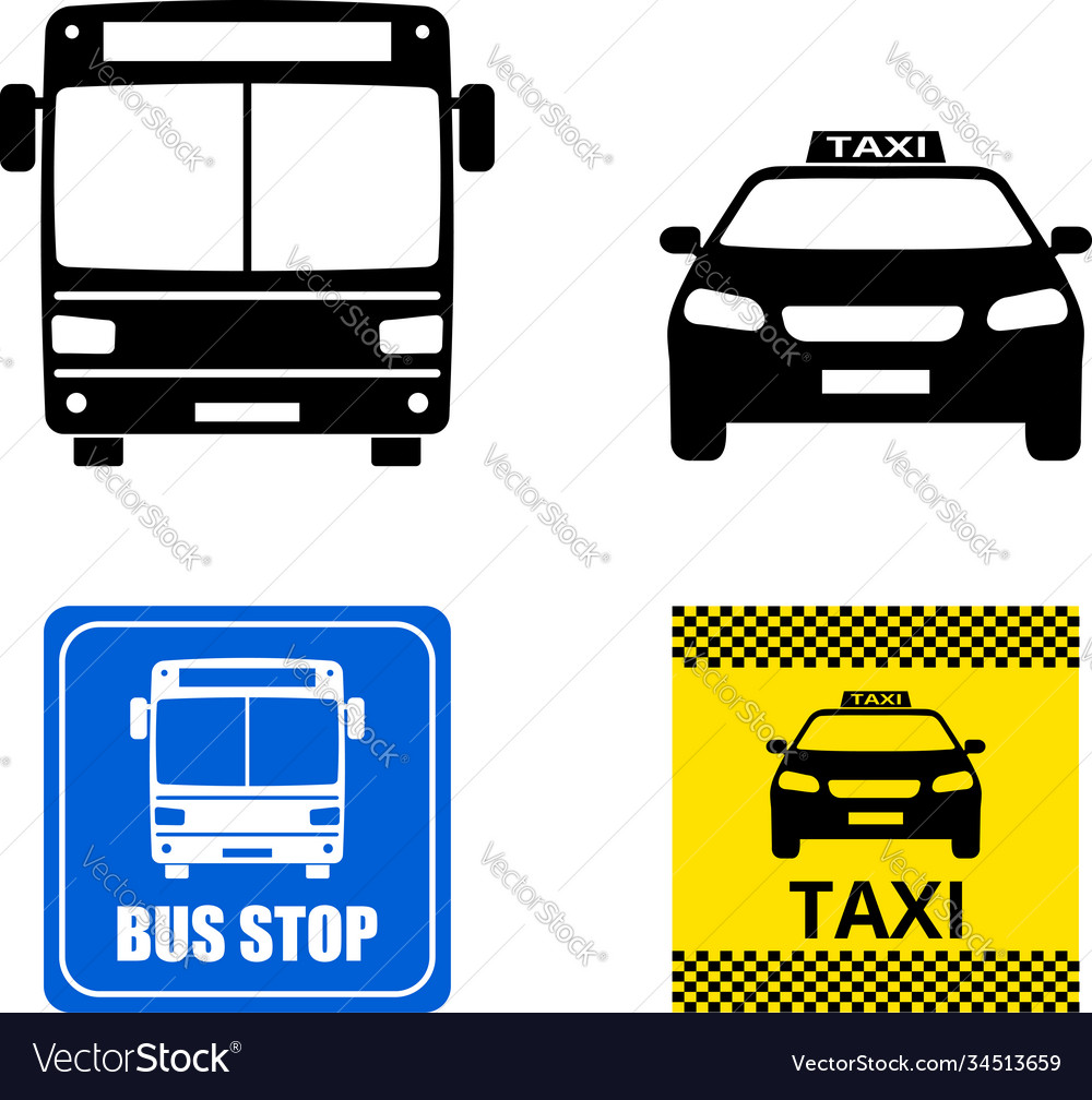 Public transportation icons and signs