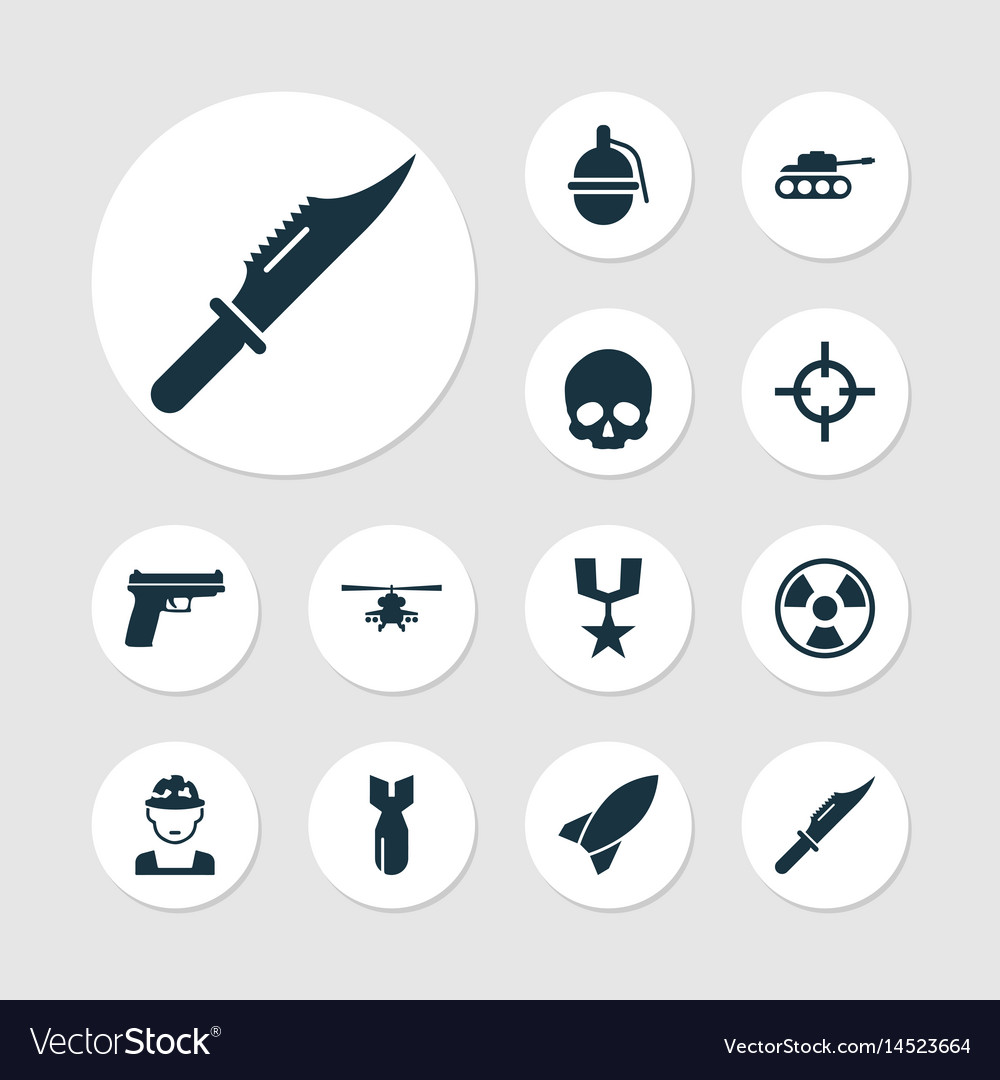 Army icons set collection of bombshell cranium vector image
