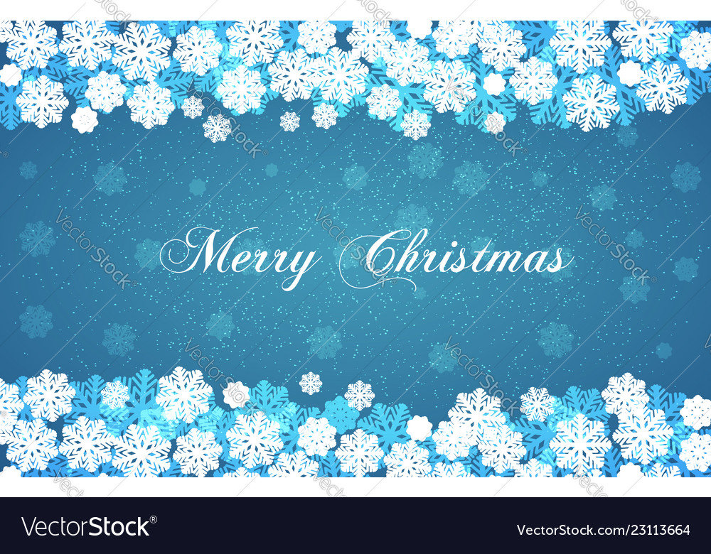 Blue new year background with white snowflakes