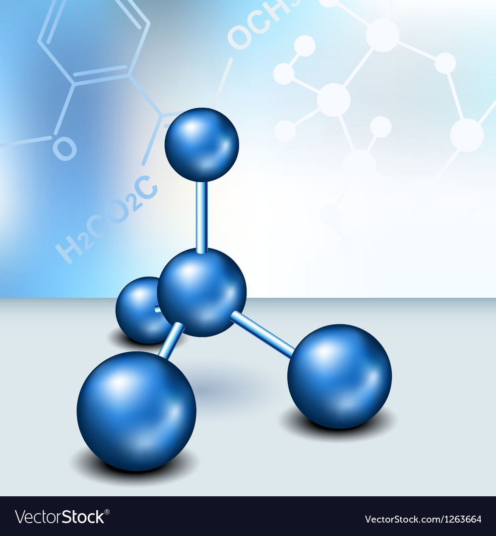 Chemistry text frame with blue molecule vector image