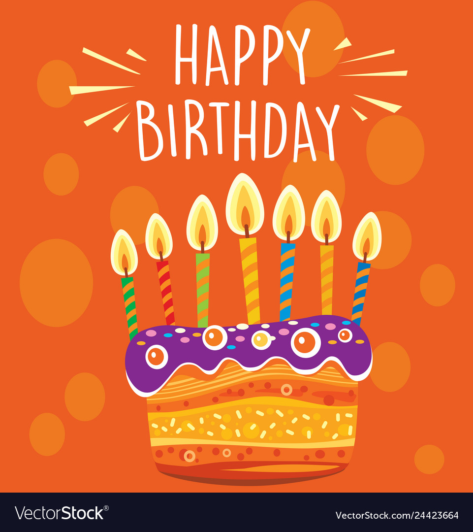 Colorful birthday cake with candles vector