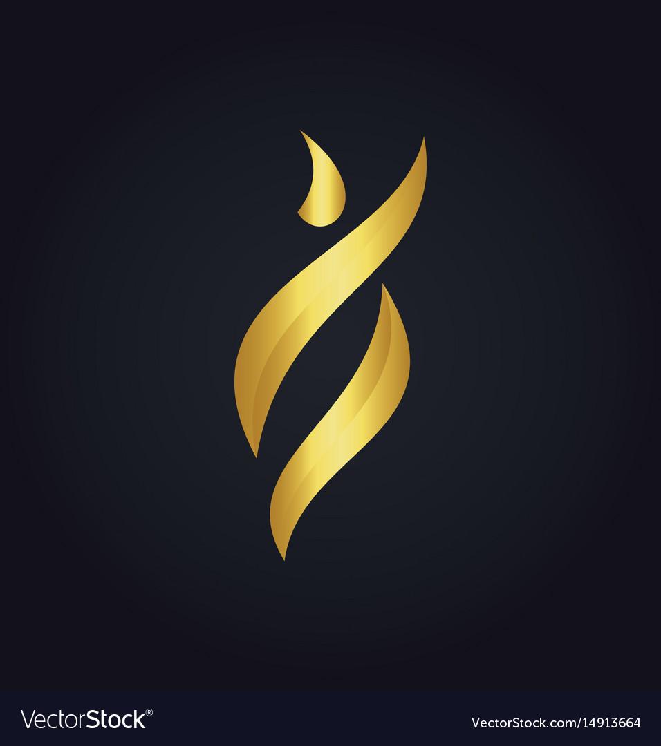 Gold abstract beauty woman logo vector image