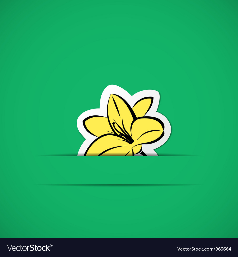 Green card with yellow flower in paper slit