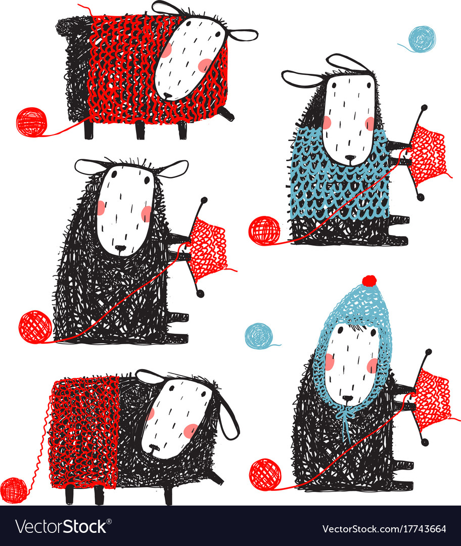 Knitting crafty sheep scribble cartoon collection vector image