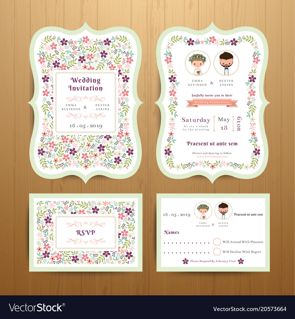 Rustic Blossom Flowers Wedding Invitation Card Vector Image