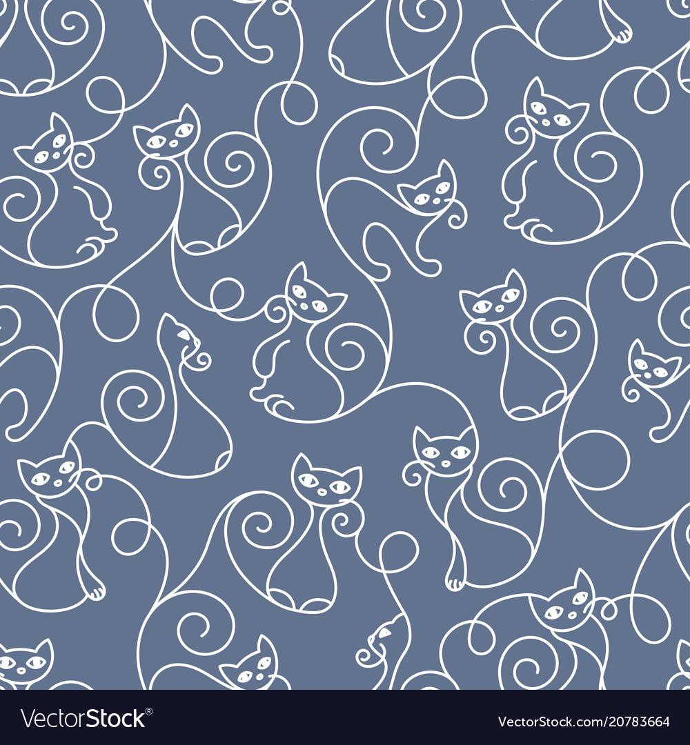 Seamless pattern of cute cartoon cats curls lines