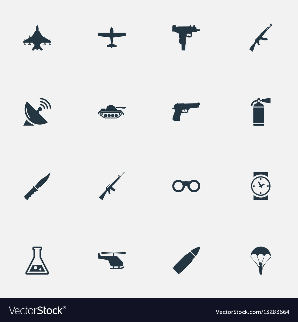 Set of 16 simple war icons can be found such
