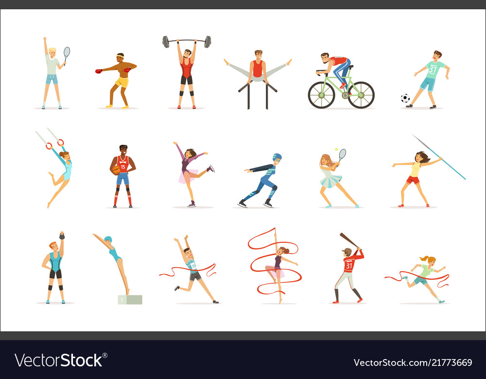 Athletic people doing various kinds of sports