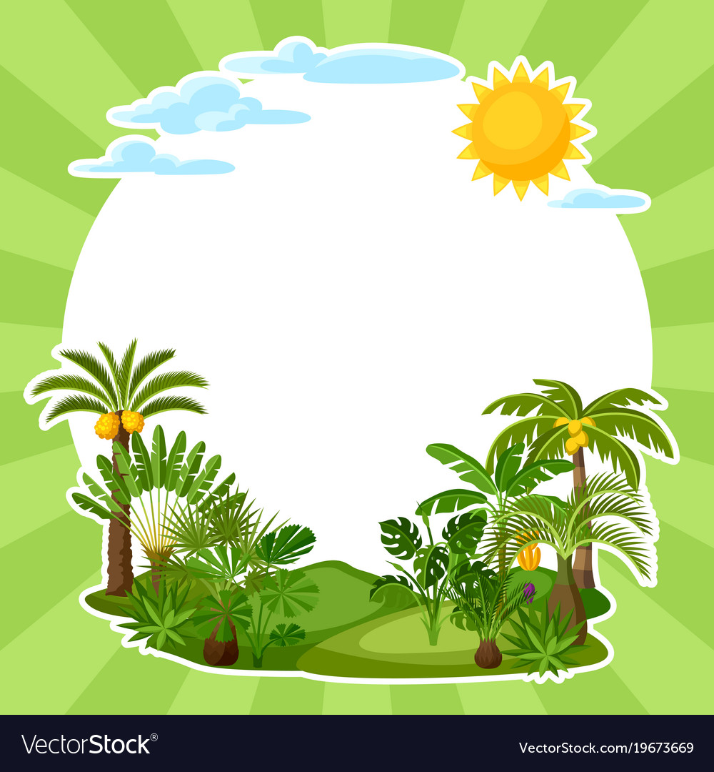 Background with tropical palm trees exotic vector image