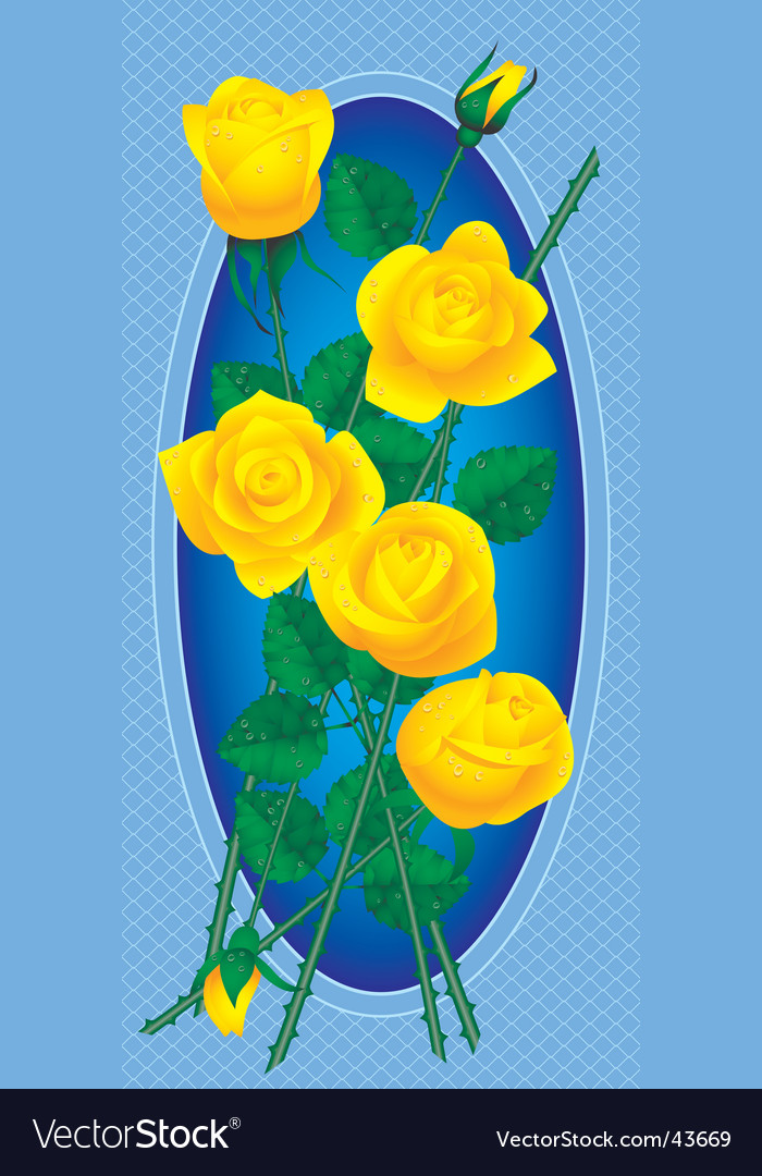 Card With Bouquet Of Yellow Roses Vector