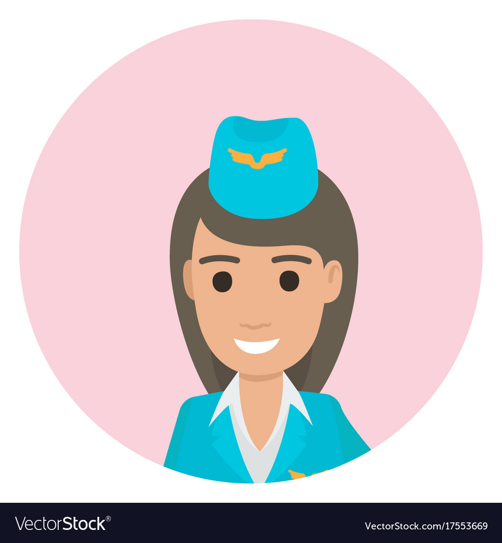 Cheerful dark-haired stewardess in blue uniform vector image