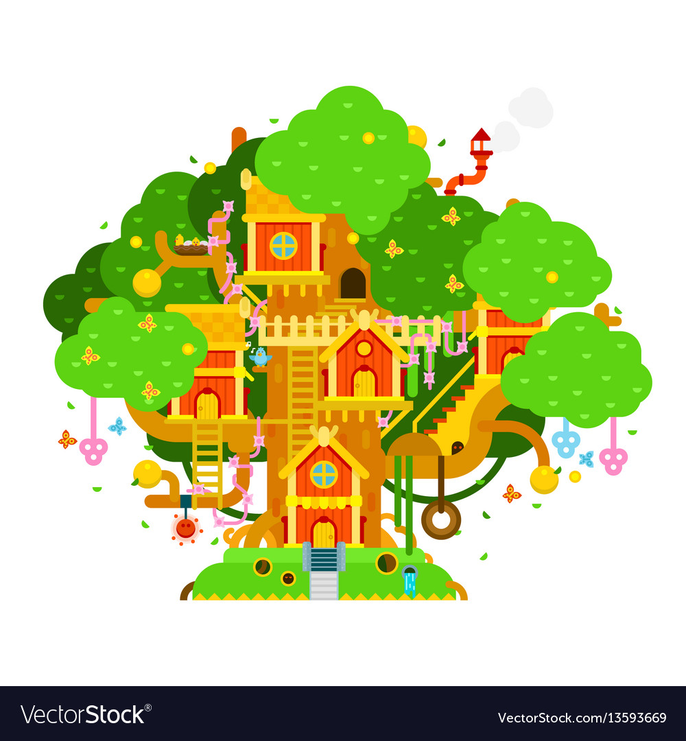 Children treehouse colorful