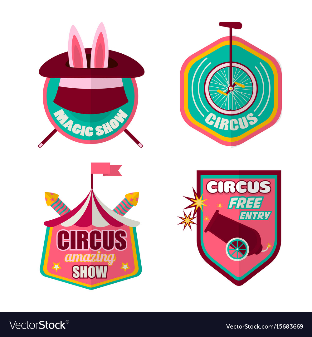 Circus icons set of clown magic hat and