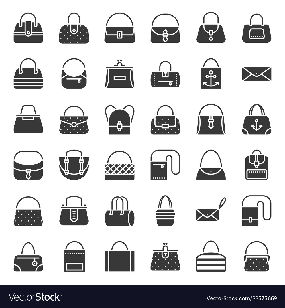 Fashion bag solid icon in various style such as