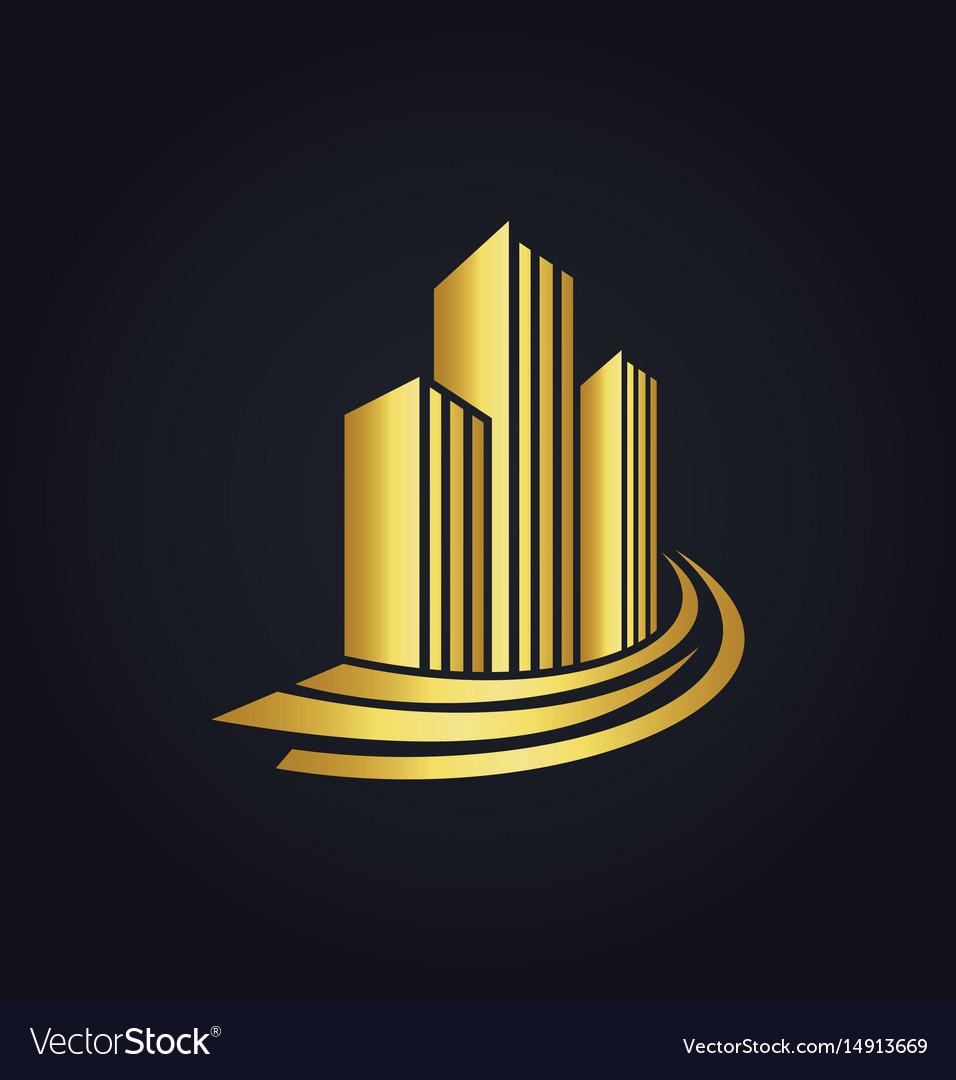 Gold building cityscape logo