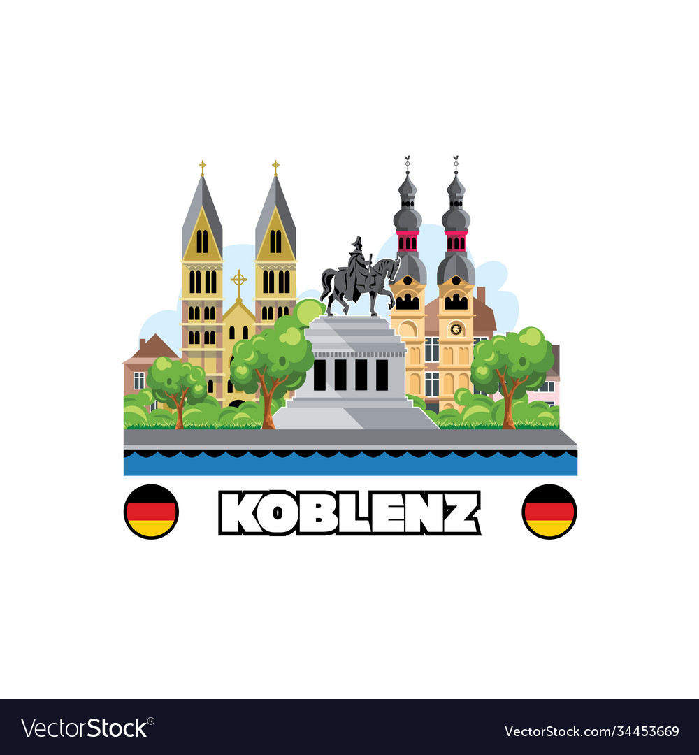 Koblenz city skyline with cityscape monuments and
