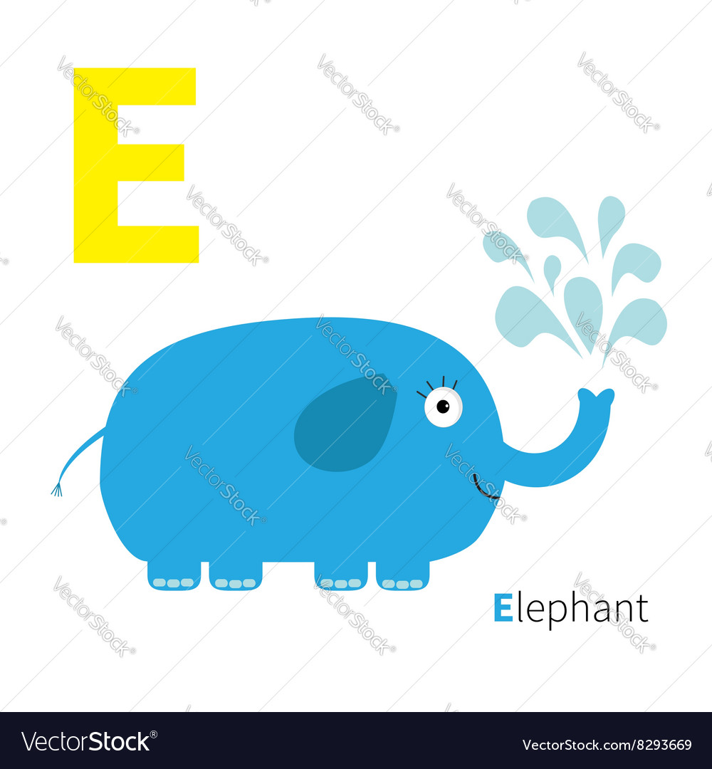 Letter E Elephant Zoo alphabet English abc with