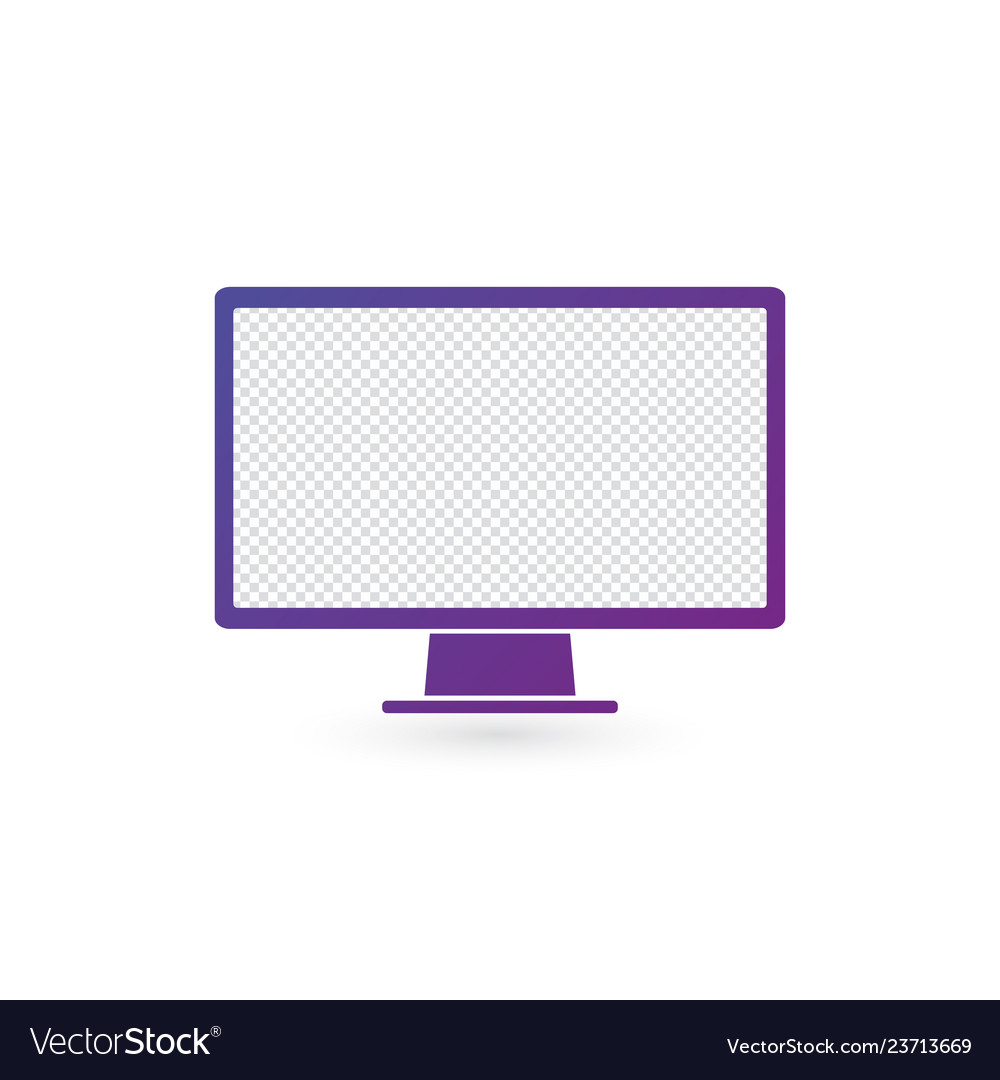 Monitor pc icon computer screen flat style on