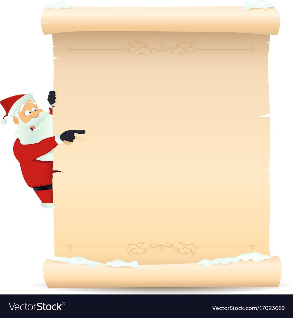 santa pointing christmas list royalty free vector image