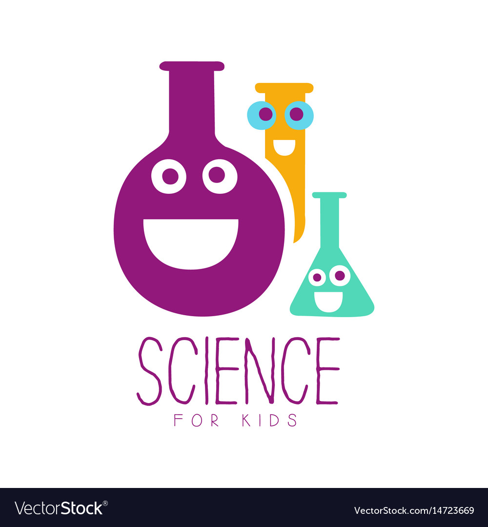 Science for kids logo symbol colorful hand drawn