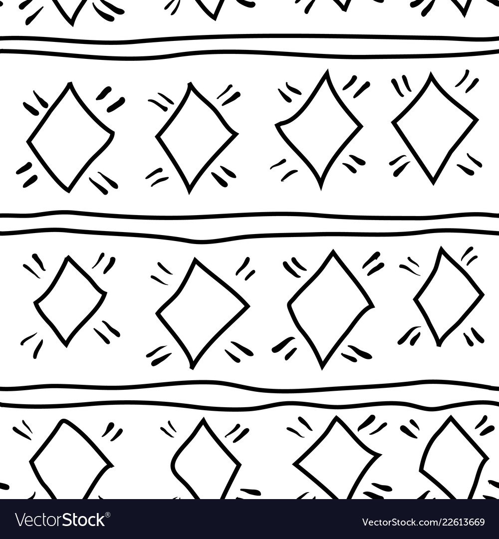 Seamless pattern hand drawn ethnic ornament