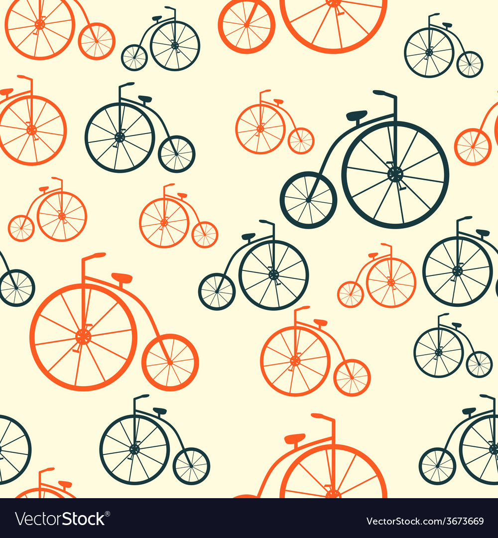 Seamless Pattern with Retro Bicycle Background
