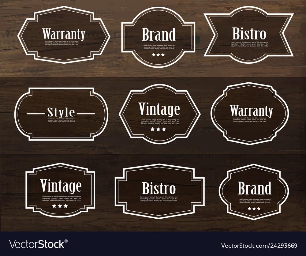 Set vintage style frame labels and elements