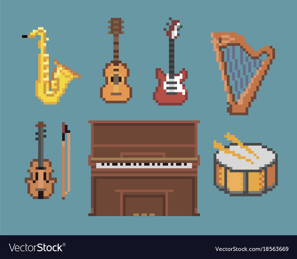 Various music pixel instruments icons Royalty Free Vector