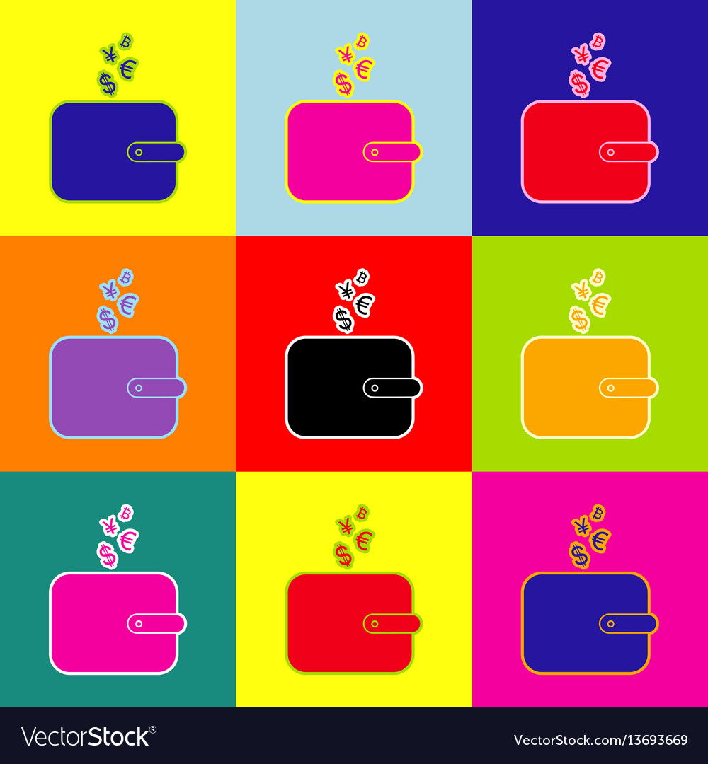 Wallet Sign With Currency Symbols Pop Art Vector Image
