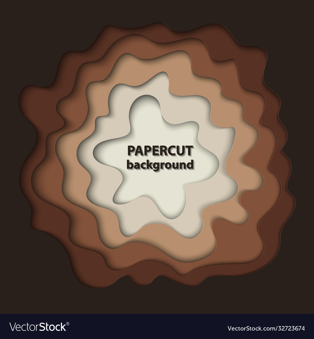Background with brown paper cut shapes 3d