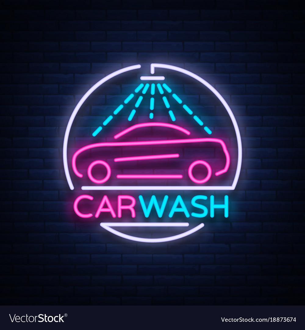 Car wash logo design emblem in neon style
