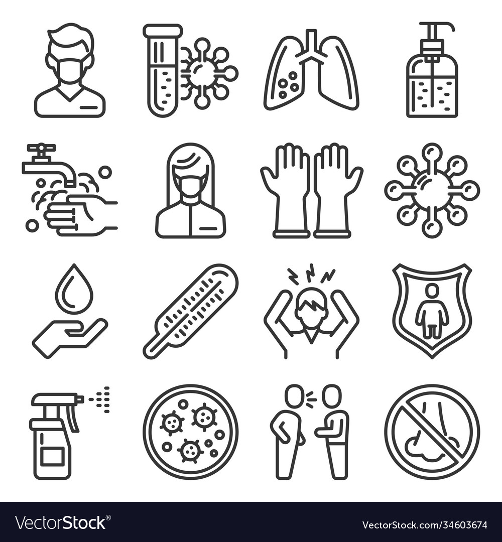 Coronavirus ncov medical and hygiene icons set vector