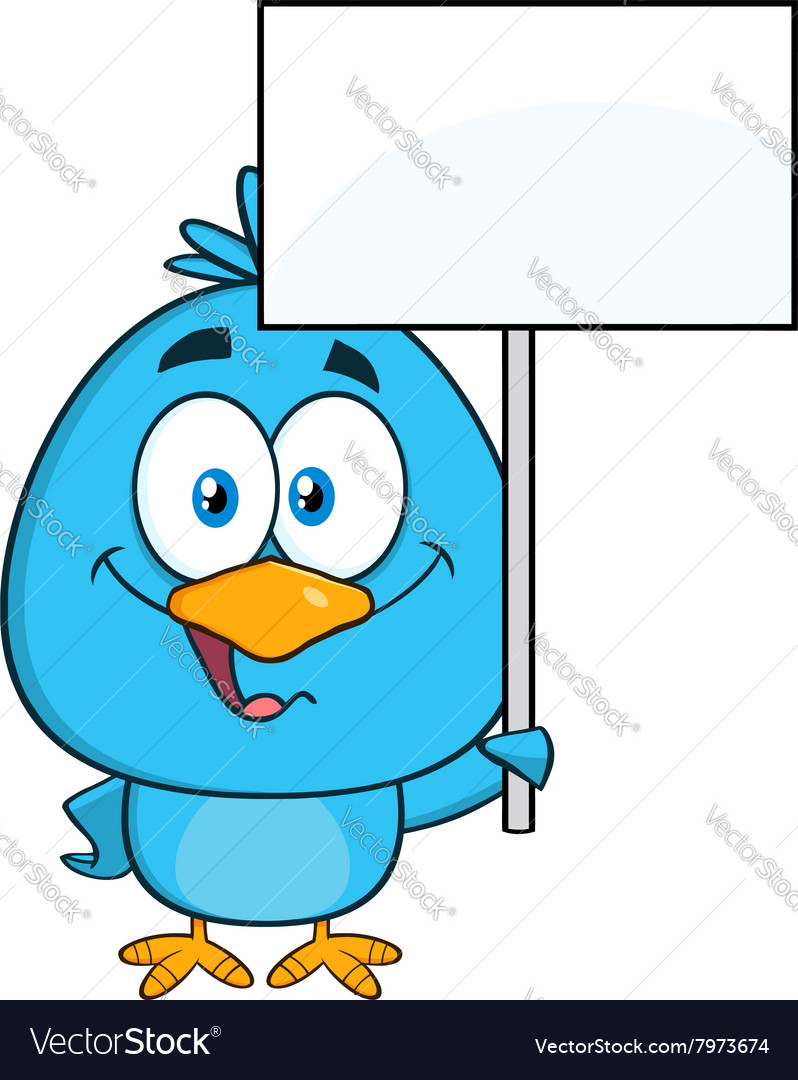 Cute Bird Cartoon Holding Up Sign