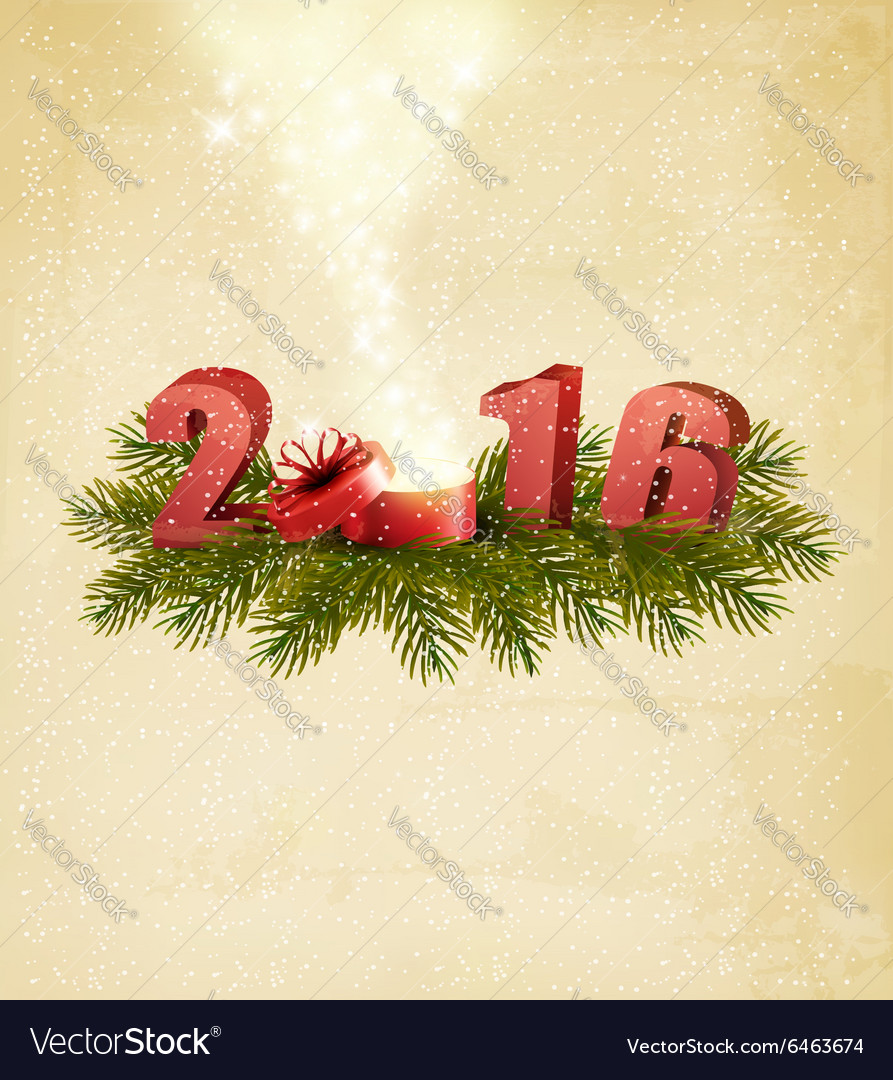 Holiday background with magic boxt and 2016