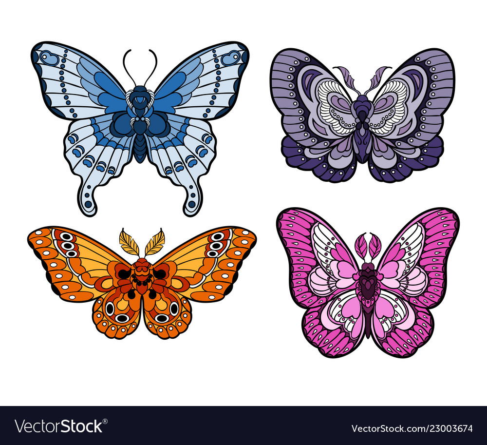 Stylised colorful butterflies isolated on white